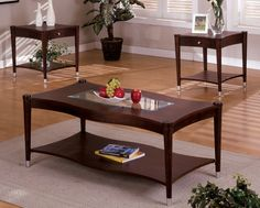 Middlebury Dark Cherry Wood Finish Contemporary Style Wavy Design with Glass Insert Table Top with a Magazine Shelf Base Cherry Coffee Table, Coffee And End Tables, Contemporary Style, Living Room Furniture, Furniture Design, Shelves, Wood, House, Dark