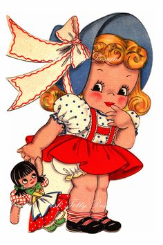 Little Girl and Her Dolly 1930s Greetings Card
