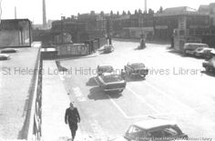 Black and white photograph showing renovations to Shaw Street Station, St. Saint Helens, Family Album, Saints, British, Community, Black And White, Street, World, Photograph