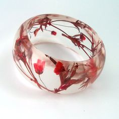 Red Resin Bracelet.  Chunky Bangle Bracelet with Pressed Flowers.  Real Flowers - Giant Red Baby's Breath.  Contemporary Botanical Jewelry.. $44.00, via Etsy.
