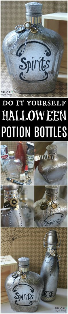 Save old glass jars and containers to make these up-cycled DIY Halloween Potion Bottles. We love this creative Apothecary Halloween Craft to make the most Boo-tiful decor for the October season. Halloween Craft Tutorial on Frugal Coupon Living. Halloween Potion Bottles, Halloween Apothecary, Halloween Potions, Halloween Labels, Halloween Crafts For Kids, Diy Halloween Decorations, Holidays Halloween, Fall Halloween, Halloween Ideas