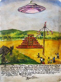 Сержант взвода Артуро Перес Мартинес, находясь в воинском подразделении вблизи Тахина, в 10 часов увидел НЛО овальной формы. Объект опускался, словно сухой листок, несомый ветром, после чего завис на высоте примерно 150 метров. Люди вверились Святому Иуде Фаддею, в свидетельство чего преподносят это ретабло.  Веракрус, 1970.