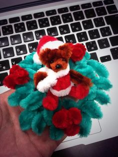 Pipe cleaner Santa bear and Christmas wreath