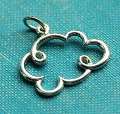 Cloud Charm, Sterling silver, Dainty, Simple, Jewelry making suppy