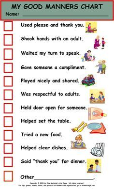 Etiquette - chart for kids More