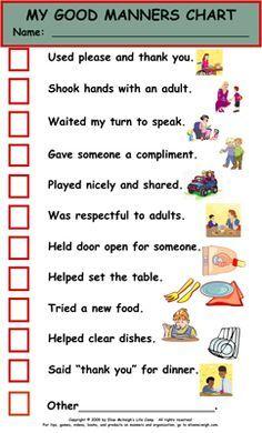 Etiquette - chart for kids More