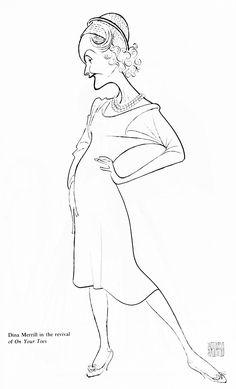 "Al Hirschfeld ~ Dina Merrill in ""On Your Toes"" Dina Merrill, James Mcneill Whistler, Peggy Guggenheim, Giovanni Boldini, John Singer Sargent, Black And White Portraits, Byzantine, Inktober, Line Art"