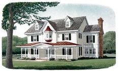 Country Farmhouse Victorian Elevation of Plan 95573