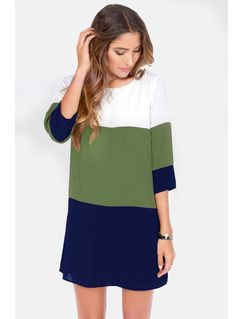 White Green Blue Color Block Dress
