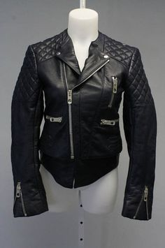 Auth Balenciaga Navy Blue Quilted Leather Exposed Zip Motorcycle Jacket Sz 38 | eBay