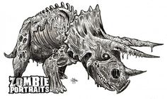 Zombie Dinosaurs Week! The Undead Triceratops! - Zombie Art by Rob Sacchetto