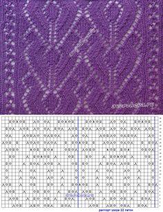 узор 432 ажур для шарфа | каталог вязаных спицами узоров