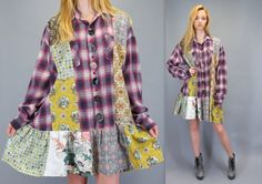 Vintage 90s Plaid Flannel Patchwork Baggy Shirt Mini Dress Grunge Oversized Slouchy Fit Button Front Drop Waist Long Sleeve Flirty Skirt by BlueFridayVintage