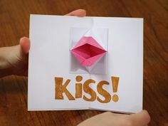 Make this delightful origami valentine card with pop-up kissing lips. It's fun and unique valentine card idea that's also quick and easy to make.