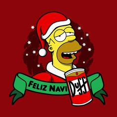 Homer - Feliz NaviDuff, The Simpsons Christmas Christmas Shows, What Is Christmas, Homer Simpson, Christmas Drawing, Christmas Paintings, Holiday Movie, Holiday Fun, Christmas Walpaper, Painted Garden Rocks