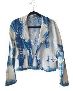 Lovely trendy handmade denim jacket with lace. Fashionable hand dyed, indigo shibori dyed jacket. Free shipping  https://www.etsy.com/listing/269343253/denim-jacket-lace-stylish-trendy-womens?ref=shop_home_feat_1