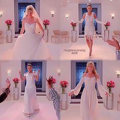 "#Glee 6x08 ""A Wedding"" - Santana and Brittany Wedding dress fashion show."