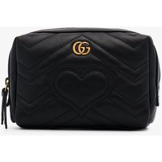 7e18b676185 Gucci Black Gg Marmont Leather Cosmetic Case ( 515) ❤ liked on Polyvore  featuring beauty products