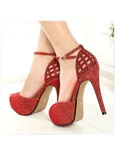 eb637a22306 Chic Denim Platform Stiletto Heels with Buckle  StilettoHeels ...