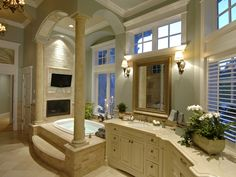 master bathroom with fireplace and flat screen...yes, please