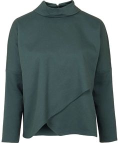 Designer Clothes, Shoes & Bags for Women Topshop Tops, Layered Tops, Roll Neck, Green Fashion, Green Tops, Hoodies, Sweatshirts, Knitwear, Jumper