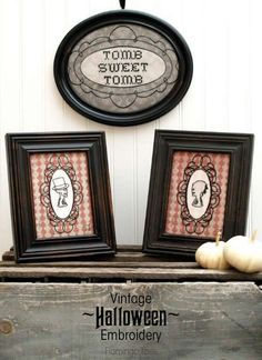 On Monday I shared my Tomb Sweet Tomb Mantel, which is all designed around some fun Vintage Halloween Embroidery Printables! This Tomb Sweet Tomb . Modern Halloween, Halloween Home Decor, Halloween House, Holidays Halloween, Vintage Halloween, Halloween Crafts, Halloween Decorations, Halloween Ideas, Happy Halloween