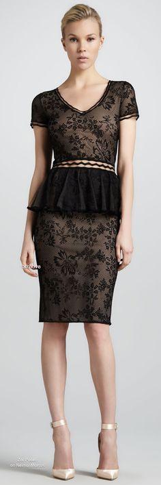 Zac Posen Short-Sleeve Lace Peplum Cocktail Dress