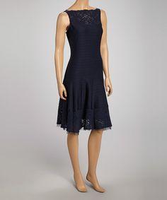 Navy Stripe Lace Trim Drop-Waist Dress - Women by Gabby Skye on #zulily #ad *pretty