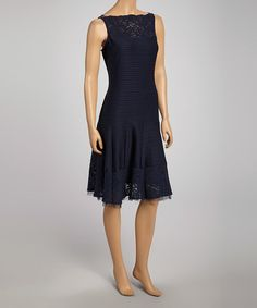 Take a look at this Navy Stripe Lace Trim Drop-Waist Dress - Women by Gabby Skye on #zulily today!