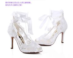 Fashion beautiful princess embroidered lace ribbon fish head high-heeled shoes wedding shoes bridal shoes Shunv Xie ordered - Taobao