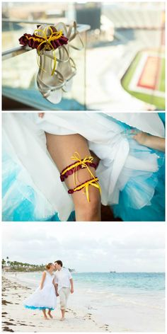 Bride Angela chose a Golden Gophers garter set for her wedding to University of Minnesota alum Andy. The couple had their reception at the Gophers' football stadium, and the garters were a perfect touch to their special day! View all the details on my blog.