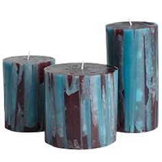 Turquoise and brown striped pillar candles!