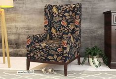 Joan Wingback Chair (Dusky Leaf) Wingback Chair, Armchair, Chair Price, Wing Chair, Accent Chairs, Wings, India, Modern, Stuff To Buy