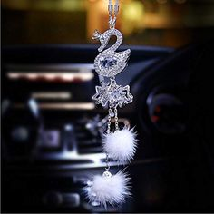 SZWGMY Car Auto Rearview Mirror Pendant Crystal Swans Hanging Ornament Car Interior Decoration Car Accessories Home D. Bling Car Accessories, Interior Accessories, Swans, Bulb Mirror, Mirror Hanging, Interior Pocket Doors, Car Interior Decor, Interior Design, Girly Car