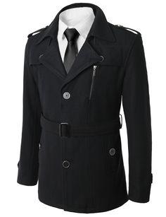 Wool Blended Classic Belted Single Button Winter Coat #doublju