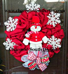 Christmas Burlap Snowman Wreath Red  White Wreath by CharmedSouth  Feel of rustic burlap in red with a sweet snowman! www.charmedsouth.etsy.com