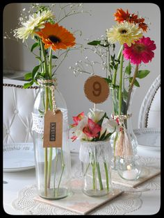 Bridal Shower Decorations Centerpieces - New ideas Flower Centerpieces, Table Centerpieces, Bridal Shower Decorations, Wedding Decorations, Lace Jars, Lila Party, Pink Gerbera, Table Flowers, Deco Table
