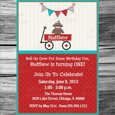 Red Wagon, Sock Monkey  Birthday Party Invitation, PRINTABLE INVITATION DESIGN, Red and Teal