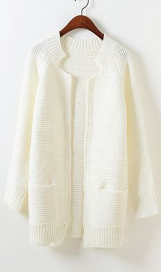 Candy colored long sleeved knit cardigan white