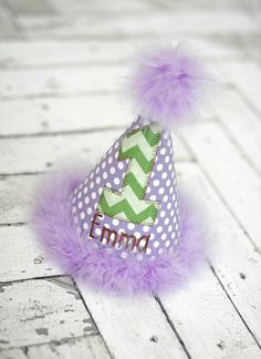 Lavendar Purple and Green Birthday Party Hat  by freshsqueezedbaby, $27.00