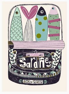 A colorful can of sardines by paperandcloth