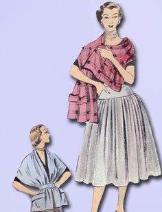 1950s Misses Advance Sewing Pattern 6064 Misses Easy Skirt & Stole Size 26 Waist