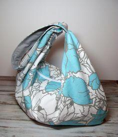 Slouchy Hobo Bag  Summer Slouchy Bag  Aqua Gray  by jayciMay, $53.00