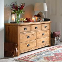 Cottage Oak Wide Chest of Drawers - Flur Dining Room Furniture, Home Furniture, Furniture Ideas, Hallway Storage Cabinet, Wood Storage, Hall Chest, Coffee Room, Cottage Interiors, Entryway Decor
