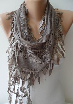 Light Brown Lace Scarf with Trim Edge -- Summer