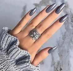 Grey nails are a popular nail color. However, grey nail art design is far more gorgeous than you think. Look at the 53 elegant gray nail art desi Silver Nail Designs, Colorful Nail Designs, Acrylic Nail Designs, Nail Art Designs, Nails Design, Grey Nail Art, Gray Nails, Silver Nails, January Nail Colors