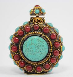 ASIAN TIBETAN HANDWORK INLAY TURQUOISE CORAL SNUFF BOTTLE