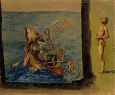 Hugo Simberg - Väinämöinen and Ikiturso, 1897 Sea Monsters, Vintage Artwork, Close To My Heart, Surreal Art, Figurative Art, Painting Inspiration, Les Oeuvres, Finland, Surrealism