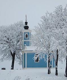 Winter chapel by Vitez, via Dreamstime