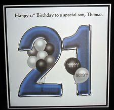 Large personalised 21st birthday card grandson godson son nephew